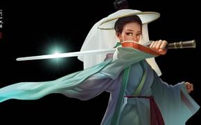 Picture girl, sword, fantasy, weapon, katana, digital art, artwork, black background, Samurai, fantasy art, kimono, simple …