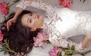 Picture look, flowers, pose, makeup, dress, hairstyle, lies, brown hair, beauty, in white, bokeh, peonies
