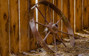 Picture the fence, wheel, rusty