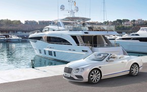 Picture yacht, sea, bentley continental gt cabriolet, yacht club