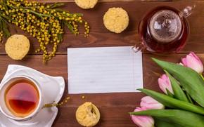 Picture tea, tulips, cupcake, Mimosa