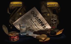 Picture gun, newspaper, form, vodka, February 23, holster, shoulder straps, True