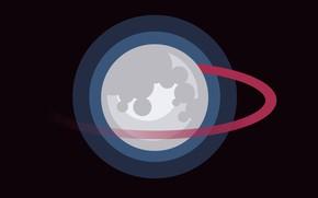 Picture moon, minimalism, artist, digital art, artwork, black background, simple background, Ahoy