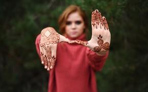 Picture girl, figure, Lisa, Igor Kondakov, two palms