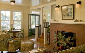 Picture comfort, interior, fireplace, living room, dining room, Knickerbocker house