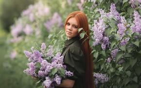 Picture girl, nature, Bush, bouquet, freckles, red, lilac, Наталья Ветошкина