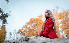 Picture in red, coat, Nasir Chowdhury, Anastasia Panina