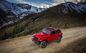 Picture mountains, red, speed, primer, 2018, Jeep, Wrangler Rubicon