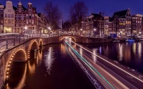 Picture purple, trees, line, landscape, night, bridge, life, lights, darkness, reflection, strip, river, movement, lilac, street, …