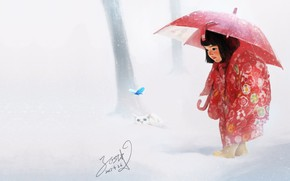 Picture winter, butterfly, art, kitty, miracle, children's, the first snow, Painting practice, Eli Fabien