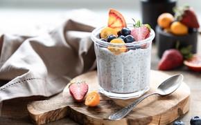 Picture berries, Breakfast, jar, yogurt, Chia