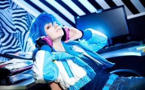 Picture style, headphones, guy, Dramatic murder, Aoba, by geshapetrovich