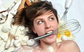 Picture girl, eggs, spoon, sugar, brown hair, shell, flour, rolling pin, products, cooking, housewife, bagel, mixer