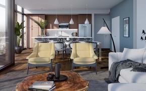 Picture interior, kitchen, San Diego, living room
