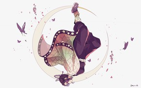 Picture girl, butterfly, a month, The Blade Cleaves Demons, Demon Slayer: Kimetsu No Yaiba
