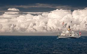 Picture the sky, clouds, lake, horizon, steamer, Switzerland, Lake Geneva, Lake Geneva, Seizure