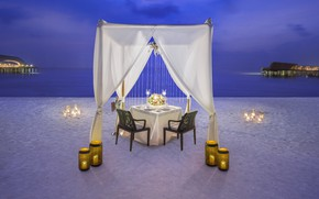 Picture beach, the ocean, romance, the evening, candles, The Maldives, resort, dinner