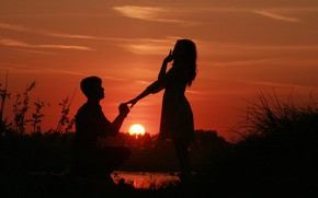 Picture girl, the sun, love, sunset, nature, hands, guy