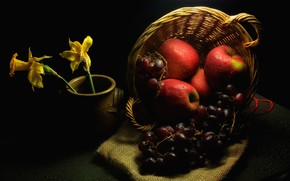 Picture drops, flowers, darkness, table, apples, grapes, red, pot, fruit, twilight, black background, still life, basket, ...