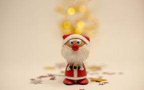 Picture winter, background, holiday, toy, Christmas, New year, Santa Claus, figure, bokeh, Christmas toys