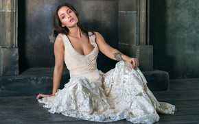Picture girl, pose, makeup, dress, tattoo, neckline, fireplace, Veronica, on the floor