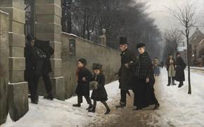 Picture Danish painter, Copenhagen, 1883, Funeral, Danish realist painter, Frants Peter Henningsen Diderik, Statens Museum for …