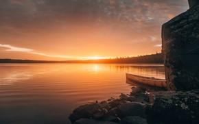 Picture USA, sunset, lake, boat, Minnesota