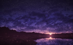 Picture sunset, nature, pond, starry sky