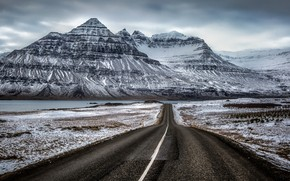 Picture road, mountain, Iceland