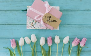 Picture the inscription, bouquet, gifts, tulips, congratulations, mother's day