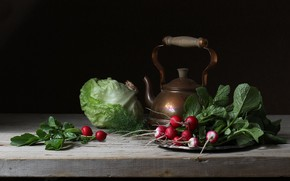 Picture the dark background, table, kettle, dill, the beam, still life, vegetables, cabbage, radishes, radishes, forks