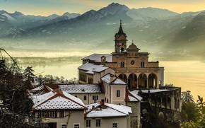 Picture winter, snow, mountains, the city, lake, Switzerland, temple, Switzerland, Ticino, Locarno, Orselina madonna del Sasso