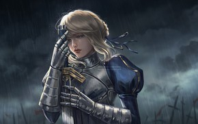 Picture sadness, girl, rain, Saber, Fate / Zero, by Patrycja Kotlik