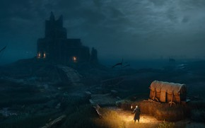 Picture night, castle, the Witcher, Geralt, The Witcher 3: Wild Hunt, roach