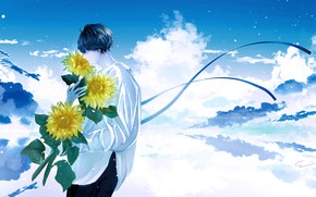 Picture clouds, sunflowers, flowers, guy, by 世