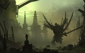 Picture Figure, Monster, Sword, Silhouette, Battle, The demon, Landscape, Art, Fiction, Landscapes, Digital Art, TacoSauceNinja, by …