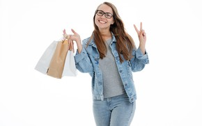 Picture girl, white background, brown hair, purchase, packages, shopping