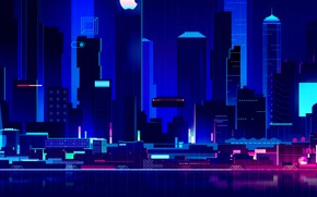 Picture Home, Night, Vector, Music, The city, Style, Building, The building, Architecture, Style, Neon, Illustration, Synth, …