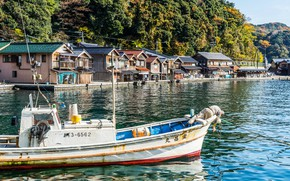 Picture forest, the sun, trees, mountains, river, shore, home, Japan, boat, Kyoto