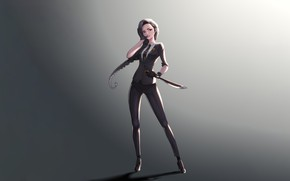 Picture Girl, Art, Style, Background, Illustration, Minimalism, Knife, Character, kyu min Hwang, killer girl