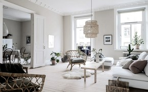 Picture style, interior, living room, dining room, White and vintage