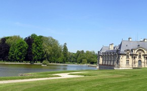 Picture pond, castle, France, panorama, Chantilly