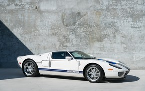 Picture White, Supercar, Blue stripes, Exclusive car, 2005 Ford GT