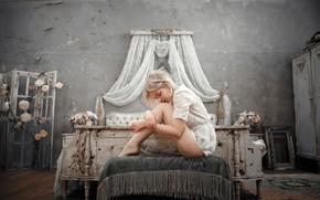Picture girl, room, bed, legs, Victoria Sokolova, Andrey Vasilyev