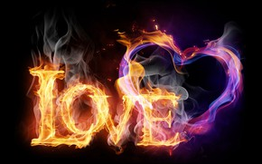Picture FIRE, TEXT, FLAME, LETTERS, LOVE, LOVE, The INSCRIPTION, СЕДЦЕ