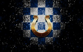 Picture wallpaper, sport, logo, NFL, glitter, checkered, Indianapolis Colts