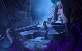 Picture sea, girl, face, pose, stones, rendering, rocks, violin, the game, profile, coat, takes, the color …