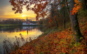 Picture autumn, trees, sunset, river, foliage, the evening, Ed Gordeev