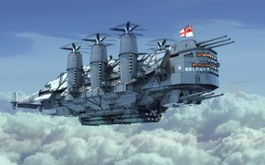 Picture The sky, The ship, Art, Fiction, Illustration, Steampunk, Belfast, HMS Belfast, HMS, by Liam Keating, …