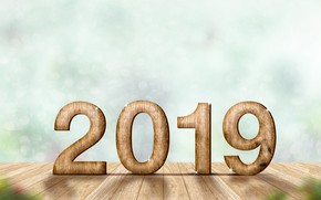Picture New Year, new year, wood, winter, background, bokeh, bokeh, Happy, 2019